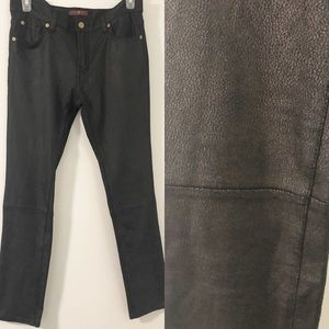7FAM Black Suede Look Skinny Textured Pants